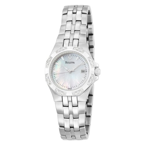 Bulova Women's 96R126 24 Diamond Case Mother of Pearl Dial Bracelet Watch