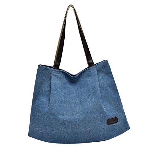 Shopping Tote Handbag P Bag Women's Reusable Canvas as Shoulder Prettyia Bag Casual Travel Large Blue Described Coffee XWqvBg8xwq