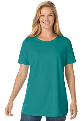 Womens Plus Size Top  Perfect Crewneck Tee In Soft Cotton Knit Brilliant