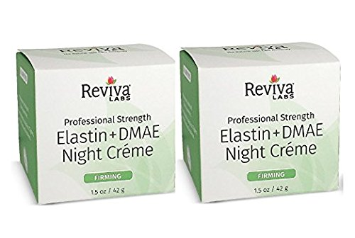 Reviva Labs Elastin and DMAE Night Cream for Firming (Pack of 2) with Linden Fragrance Extract, Witch Hazel Extract, Glyceryl Stearate and Vegetable Oil, 1.5 fl. (Dmae Night Cream)