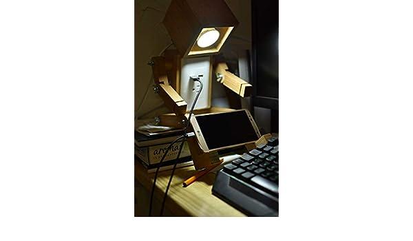Amazon.com: Lámpara de Robot de madera: Handmade