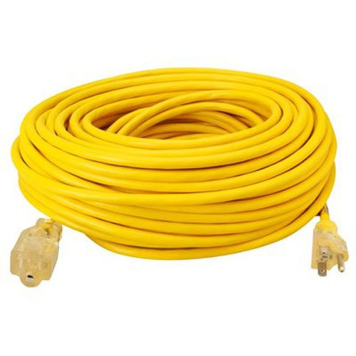 Southwire 01689 12/3 made in America Insulated Outdoor Extension Cord with Lighted End, 100-Foot