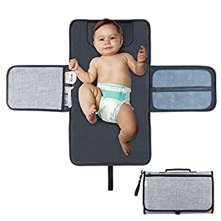 Diaper Changing Pad Portable Change Mat with Head Cushion, Baby Diaper Travel Changing Station Kit with Pockets, Waterproof and Foldable Idefair