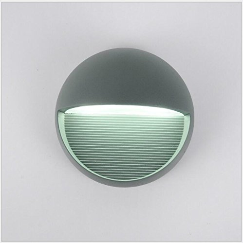 Lightess Wall Sconce LED Wall Light Outdoor Waterproof Bulkhead Lights Lighting Fixture Round Shape Aluminum Alloy Lights, 3W Cold White Led Round Wall
