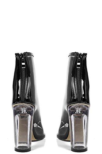 Schwarz Damen Lena Peeptoe Klar Heel Shoe Boot - 5