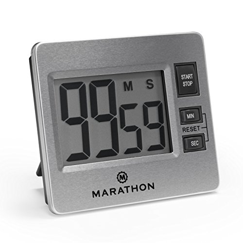 MARATHON TI030012 Stainless Digital Kitchen Timer with Jumbo Digits, Loud Alarm And Magnetic Back with Stand - Battery - Timer Steel