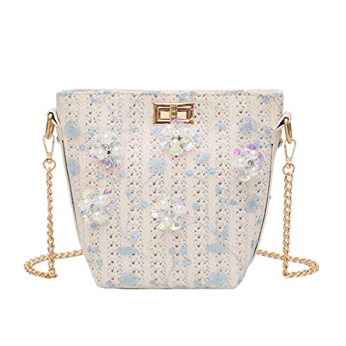Ostrich Paw Belt - Pengy Women's Fashion Pearl Appliques Bags Woven Shoulder Bag Solid Woven Bag Travel Canvas String Bag for Ladies