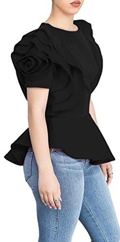 Blansdi Women Round Neck Ruffle Short Sleeve Peplum Bodycon Blouse Shirts Tops Black XLarge, US L