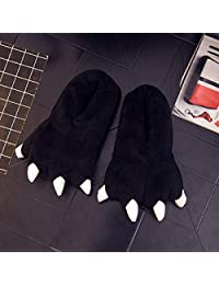 ZYGAJ Drop Shipping Funny Winter Family Matching Shoes Thickening Antiskid Fluffy Kids Slippers Coral Fleece Dinosaur Claws Shoes