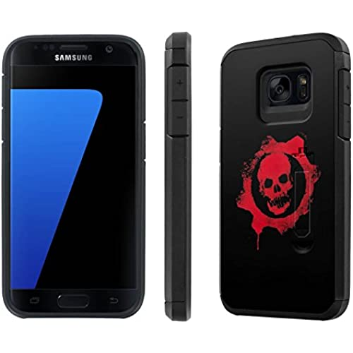 Galaxy [S7] [5.1 Screen] Defender Hybrid Case [SlickCandy] [Black/Black] Dual Layer Protection [Kick Stand] [Shock Proof] Phone Case - [Skull Emblem] for Sales