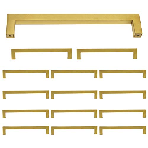 15 Pack Square Cabinet Pulls and Knobs Brushed Brass Finish 7 9/16 inch 192mm Hole Spacing Stainless Steel Kitchen Hardware Gold Handle Pull 202mm Length Modern Dresser Drawer Pull Closet Door Handles