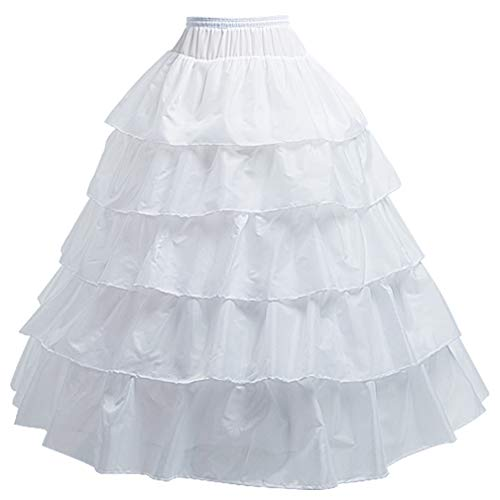 (KAIYANG 4 Hoop Skirt for Women Crinoline Petticoat Skirt Underskirt for Bridal Wedding Dress (White-A))