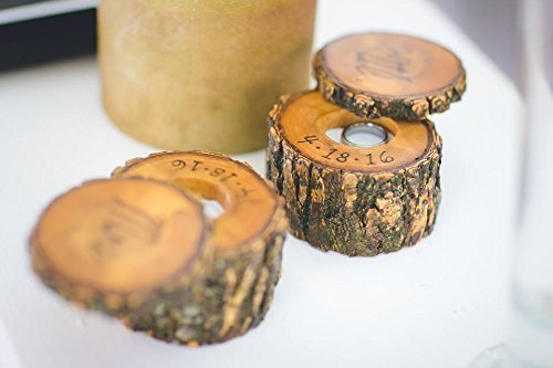 Natural Tree Wood Ring Holder with Rotating Top (Single or Set), Wood Engagement Ring Holder or Wedding Band Box