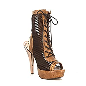 Womens Bronze Steampunk Netted Lace Up Boots