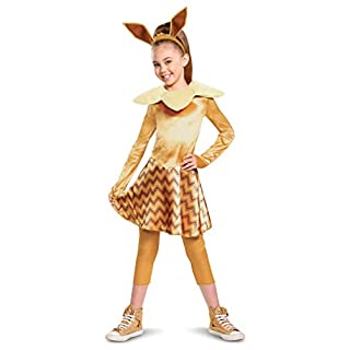 Disguise Pokemon Eevee Costume for Kids, Girls Deluxe Character Outfit, Child Size Small (4-6x) Brown