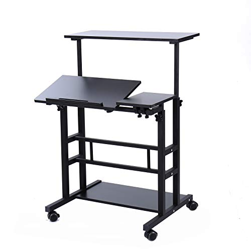 - UNICOO- Height Adjustable Sit Stand Workstation, Mobile Standing Desk, Rolling Presentation Cart, Stand Up Computer Desk with Dual Surface for Home Office (U101-Black)