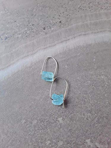 Aquamarine Hoop Earring - Raw Aquamarine Modern Minimalist Drop Hoop Earrings Silver