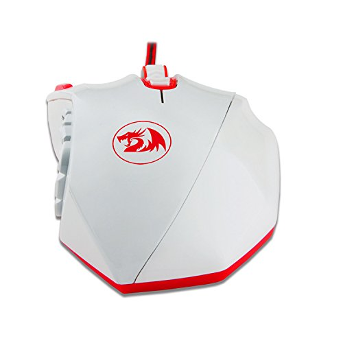 Redragon M901 PERDITION 16400 DPI Programmable Laser Gaming Mouse for PC, MMO, 18 Programmable Buttons, Weight Tuning Set, 12 Side Buttons, 5 programmable user profiles, Omron Micro Switches (White) by Redragon (Image #6)