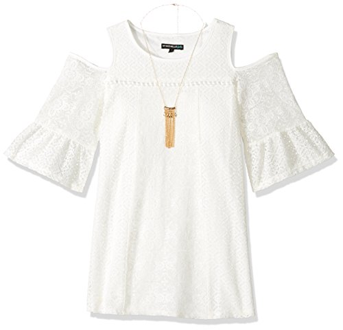 My Michelle Big Girls' Cold Soulder Crochet Dress with Necklace, Ivory, 8 (Tween Party Dress)