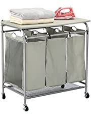 HollyHOME Foldable Ironing Board Laundry Sorter Cart with Removable 3 Bags Laundry Hamper Sorter with Small Cloth Bags on Both Sides