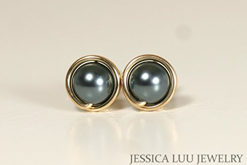 Gold Tahitian Swarovski Pearl Stud Earrings Wire Wrapped Yellow or Rose Gold Filled