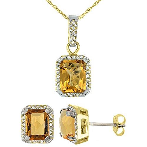 Or jaune 9Ct naturel octogone 8x 6mm à whisky Quartz Boucles d'oreilles et pendentif Set Accents de diamant