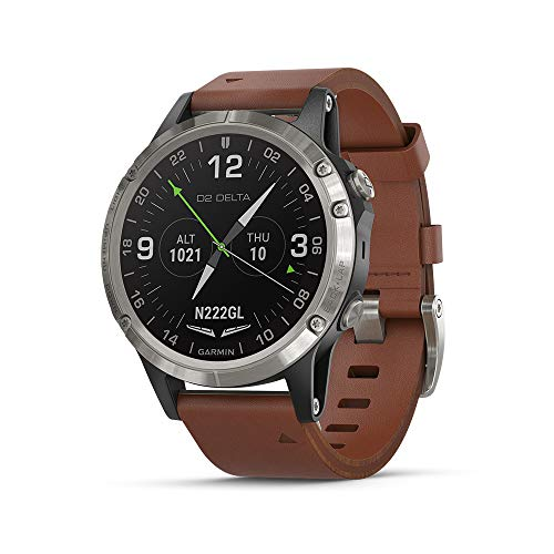 Garmin D2 Delta, GPS Pilot Watch, Includes Smartwatch Features, Heart Rate and Music, Titanium with Brown Leather Band