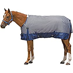 Saxon 600D Standard Neck Lite 2 Tone Turnout Sheet with Gussets, Gray/Navy, Size 75