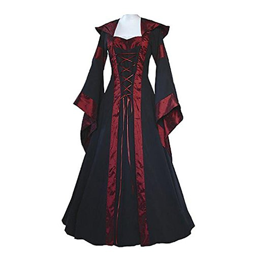 Pictures Of Weird Halloween Costumes (KASST Halloween Cosplay Costume Renaissance Medieval Irish Costume Over Dress Gothic Dress (XL, wine red))