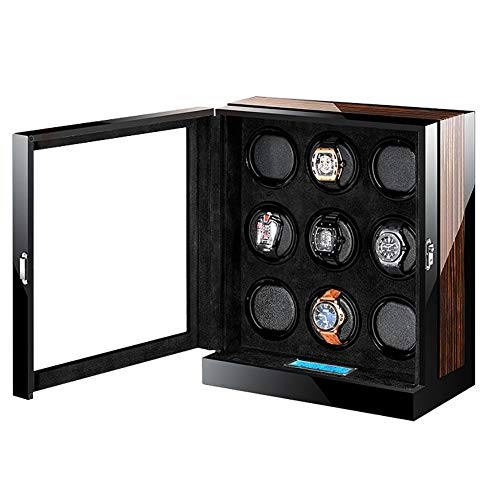 (MENG-DuDu Wooden 9+0 Automatic Watch Winders Storage Box LCD Touch Screen, Black (Black))