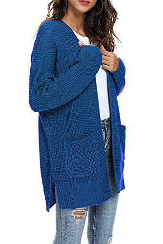 TARSE Women's Open Front Long Sleeve Cardigan Waffle Knit Loose Sweater Coats with Pockets Outwear, Royal Blue, M