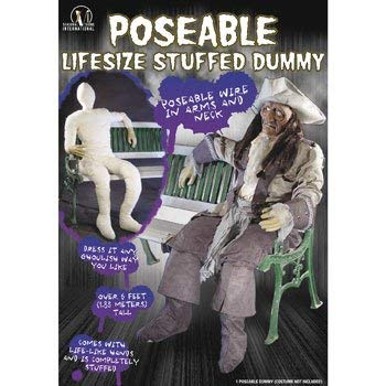 Stuffed Posable Dummy w/ Life-like Hands Halloween or Theater Prop -