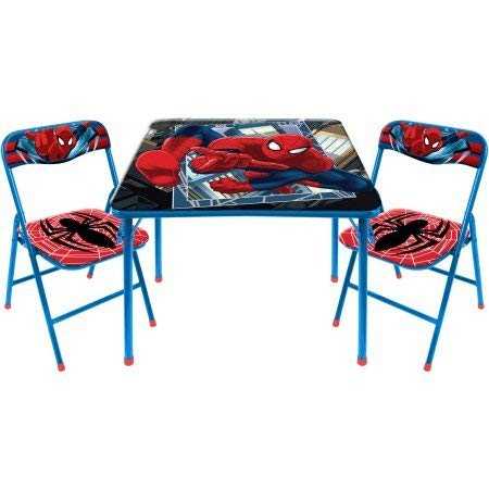 (Marvel Spiderman 2Piece Folding Table & Folding Chair Set Comes with Bonus Chair Furniture)