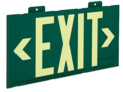 Glo Brite 7021 8.25-by-15.25-Inch Single Face Non Electrical, Glow-in-the-dark (Photoluminescent) Eco Exit Sign Wall Mount, Green
