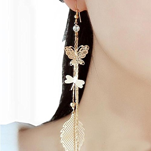 XILALU 1Pair Women Alloy Hollow Butterfly Dangle Earings Eardrop Jewelry (Gold 2)
