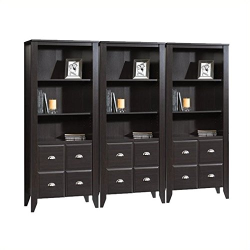 Sauder Shoal Creek Wall Bookcase with Doors in Jamocha Wood