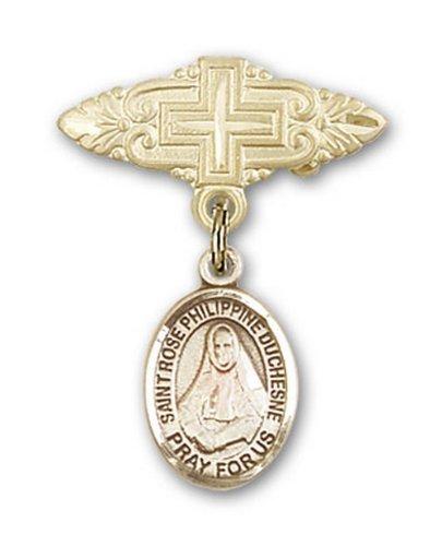Icecarats Or Bijoux De Créateurs Rempli R. Rose Broche De Badge Charme Philippine Avec Croix 1 X 3/4