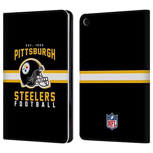 Official NFL Helmet Typography 2018/19 Pittsburgh Steelers Leather Book Wallet Case Cover for Amazon Fire HD 8 - Wallet Fire Case Leather Phone