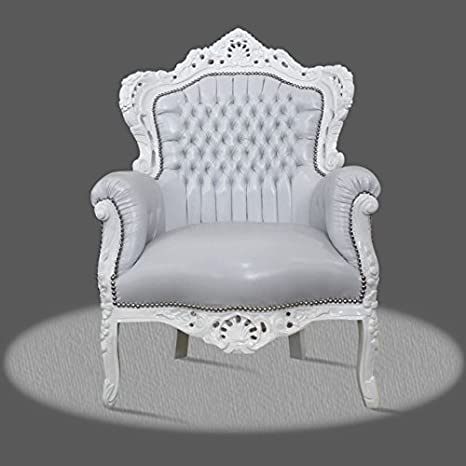 LouisXV Sillón Barroco fauteuille en Color Blanco cremoso ...