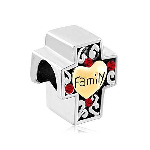 LovelyJewelry Two Tone Red Crystal Filigree Heart Love Family On Cross Beads For Bracelet