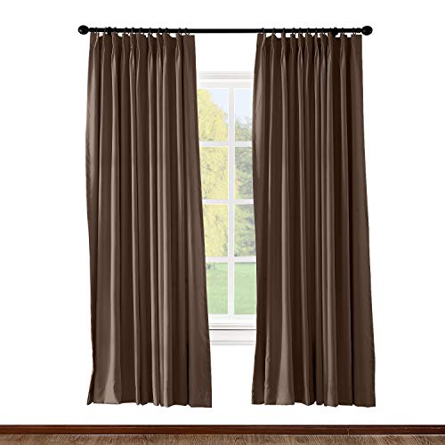 ChadMade Pinch Pleated Curtain 100W x 96L Inch Solid Thermal Insulated Blackout Patio Door Panel Drape for Traverse Rod and Track, Chocolate (1 Panel)