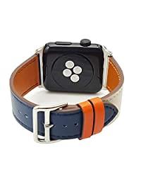 MeShow TCSHOW 40mm 38mm Leather Dual Color Replacement Strap Wrist Band with Silver Metal Adapter Compatible for Apple Watch Series 4(40mm)/Series 3/2/1(38mm)