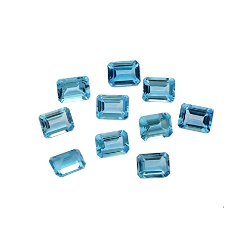 10 pcs Wholesale lot Sparkling Swiss Blue Topaz Faceted Gemstone Octogon Shape 7x5mm 12.2 carats Approx,Jewelry Making Loose Gemstone A139