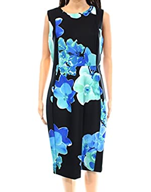 Blue Women's Sheath Floral Print Dress