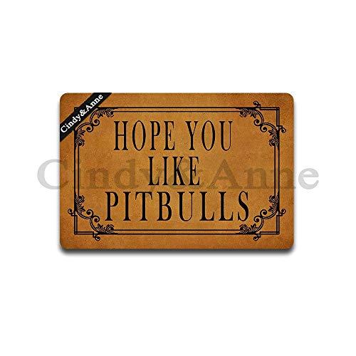 Tdou Hope You Like Pitbulls Doormat in Here Entrance Floor Mat Funny Doormat Home and Office Decorative Indoor/Outdoor/Kitchen Mat Non-Slip Rubber 23.6