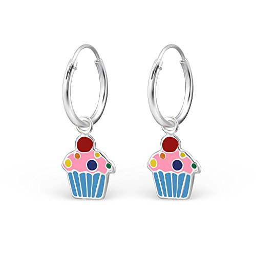925 Sterling Silver Hypoallergenic Cupcake on Endless Hoop Earrings for Girls 28030