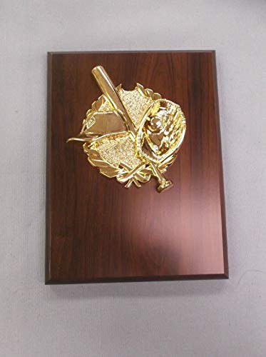 Baseball 6x8 Plaque Award Trophy Cherry Finish Board high Relief Gold Theme