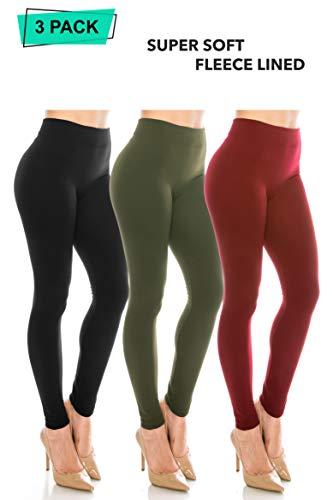 ALWAYS Women Fleeced Warm Leggings - Solid Basic Winter Premium Soft High Rise Pants Pack Black Olive Burgundy One Size