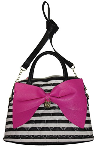 Betsey Johnson Be Mine Dome Satchel Black White