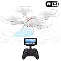 Beebeerun Wifi FPV RC Quadcopter Drone with Camera Live Video 2.4GHz 6-Gyro Headless Mode Altitude Hold One-Key Function VR Headset-Compatible Gravity Induction Damage Resistance